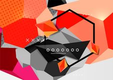 Color 3d geometric composition poster. Vector illustration of colorful triangles, pyramids, hexagons and other shapes on grey background Royalty Free Stock Images