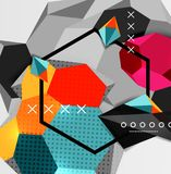 Color 3d geometric composition poster. Vector illustration of colorful triangles, pyramids, hexagons and other shapes on grey background Royalty Free Stock Photo