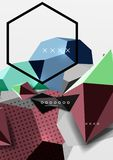 Color 3d geometric composition poster. Vector illustration of colorful triangles, pyramids, hexagons and other shapes on grey background Stock Image
