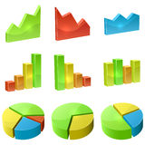 Color 3D graph icon set. Isolated on white background Stock Image