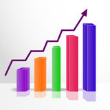 Color 3D growth chart on the mirror surface, vector Stock Images