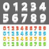 Color 3D Numbers. Collection of 3d numbers from 0 to 10. Different color variations Royalty Free Stock Photo