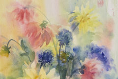 Free Color Dahlias Watercolor Royalty Free Stock Images - 89629639