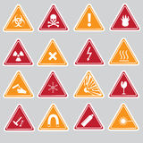 16 color danger signs types stickers. Eps10 Stock Photos