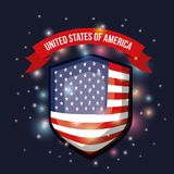 Color dark blue background with brightness of shield shape flag united states of america with label tape up. Vector illustration Stock Photo