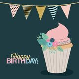 Color dark green background with decorative flags to party and sweet cupcake and text happy birthday. Vector illustration Royalty Free Stock Photos