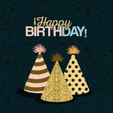 Color dark green background with paint stains and set party hats with text happy birthday. Vector illustration royalty free illustration