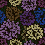 Color dark seamless floral wallpaper pattern Stock Images