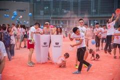 Color de Chongqing Exhibition Center corrido en gente joven Imagen de archivo libre de regalías