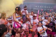 Color de Chongqing Exhibition Center corrido en gente joven Fotos de archivo libres de regalías