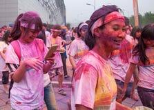 Color de Chongqing Exhibition Center corrido en gente joven Fotos de archivo