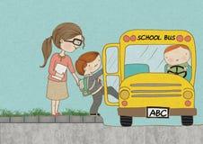 Color de fondo del autobús escolar del embarque del niño Foto de archivo libre de regalías