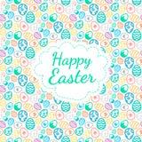 Color de fondo feliz de tarjeta de felicitación de Pascua del modelo inconsútil de los huevos Fotos de archivo libres de regalías