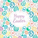 Color de fondo feliz de tarjeta de felicitación de Pascua del modelo inconsútil de los huevos Imagen de archivo libre de regalías