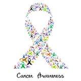 Color de la conciencia del cáncer diverso y cintas brillantes para la ayuda como una cinta colorida grande eps10 Fotos de archivo libres de regalías