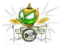 Color de la historieta de la demostración de Siam Gumphant Playing Drum Set Imagen de archivo libre de regalías