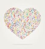 Color de la música de la forma del corazón Foto de archivo libre de regalías