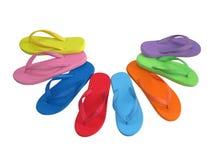 Color de la mezcla de los flip-flop aislado en blanco Foto de archivo libre de regalías