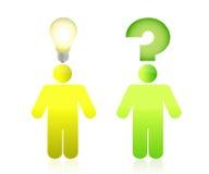 Color de la pregunta y de la respuesta, verde y amarillo Imágenes de archivo libres de regalías