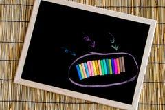 Color de la tiza en la pizarra Imagen de archivo