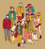 Color de los animales domésticos y de la gente del grupo ilustración del vector