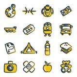 Color 2 de los iconos de los refugiados a pulso Fotografía de archivo libre de regalías