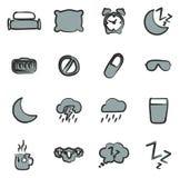 Color 2 de los iconos del sueño o el dormir a pulso Fotografía de archivo libre de regalías