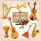 Color de los instrumentos de música Imagen de archivo libre de regalías