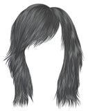 Color de moda del gris de los pelos de la mujer longitud media Estilo de la belleza Fotografía de archivo libre de regalías