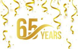 Color de oro aislado número 65 con el icono de los años de la palabra en el fondo blanco con el confeti y las cintas que caen, 65 Foto de archivo