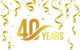 Color de oro aislado número 40 con el icono de los años de la palabra en el fondo blanco con el confeti y las cintas que caen, 40