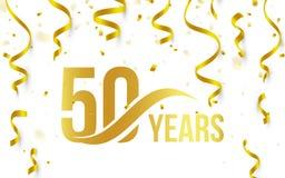 Color de oro aislado número 50 con el icono de los años de la palabra en el fondo blanco con el confeti y las cintas que caen, 50