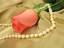 Color de rosa color de rosa y perlas en el satén del oro Fotos de archivo libres de regalías