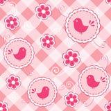 Color de rosa de bebé inconsútil con el pájaro. Fotografía de archivo