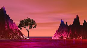 Color de rosa de la isla y de la montaña stock de ilustración