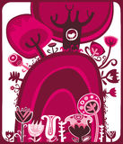 Color de rosa de la tarjeta del día de San Valentín stock de ilustración