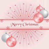 Color de rosa de las bolas y del resplandor solar de Navidad Fotografía de archivo libre de regalías
