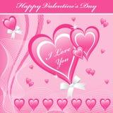 Color de rosa de los corazones del amor de la tarjeta del día de San Valentín Fotografía de archivo libre de regalías