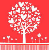 Color de rosa del árbol de la tarjeta del día de San Valentín ilustración del vector