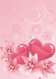 Color de rosa del diseño del día de tarjetas del día de San Valentín. Imagenes de archivo