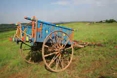 Color decorated rural bullock cart India Stock Photography