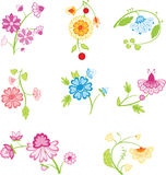 Color decorative flowers Royalty Free Stock Images