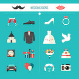 Color Decorative Wedding Icons. Witn clothes of bride and groom festive civil accessories and church isolated vector illustration Stock Photography