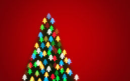 Color defocused bokeh of christmas fir-tree lights Stock Image