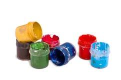 Color del aguazo en envases fotografía de archivo