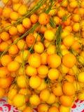 Color del amarillo del ramiflora de Baccaurea en el fondo de la pared de la bandeja fotografía de archivo libre de regalías