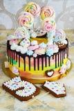 Color del arco iris de la torta del ` s de los niños en un fondo blanco con el merengue de madera Fotografía de archivo libre de regalías