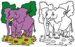 COLOR del elefante y BW sonrientes Foto de archivo