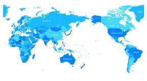 Color del mapa del mundo del centro de Asia stock de ilustración