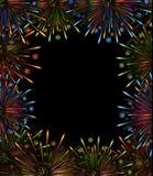 Color del marco de la noche de los fuegos artificiales Imágenes de archivo libres de regalías